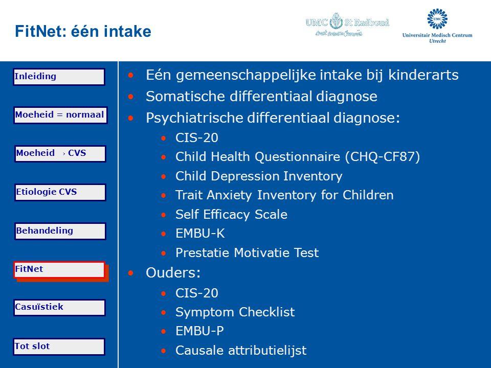 FitNet: één intake Eén gemeenschappelijke intake bij kinderarts