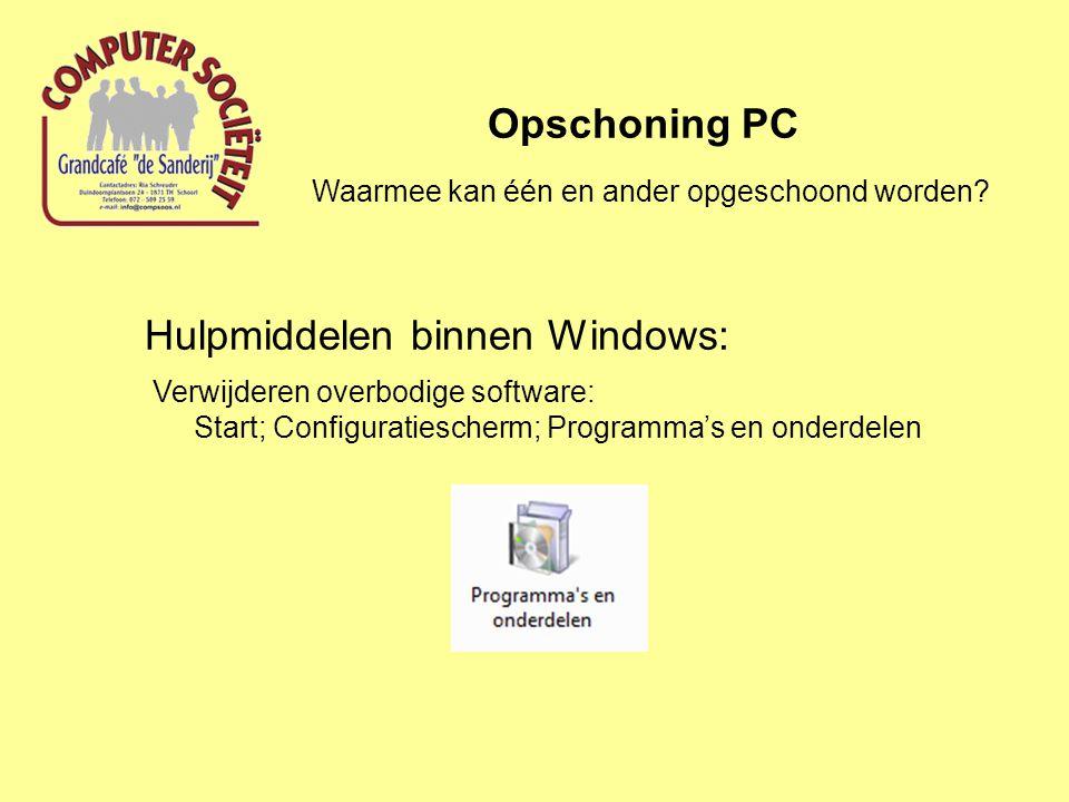 Hulpmiddelen binnen Windows: