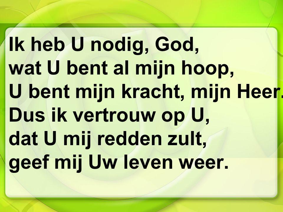Ik heb U nodig, God, wat U bent al mijn hoop, U bent mijn kracht, mijn Heer.