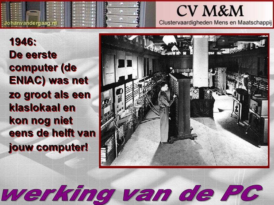 1946: De eerste computer (de ENIAC) was net zo groot als een klaslokaal en kon nog niet eens de helft van jouw computer!
