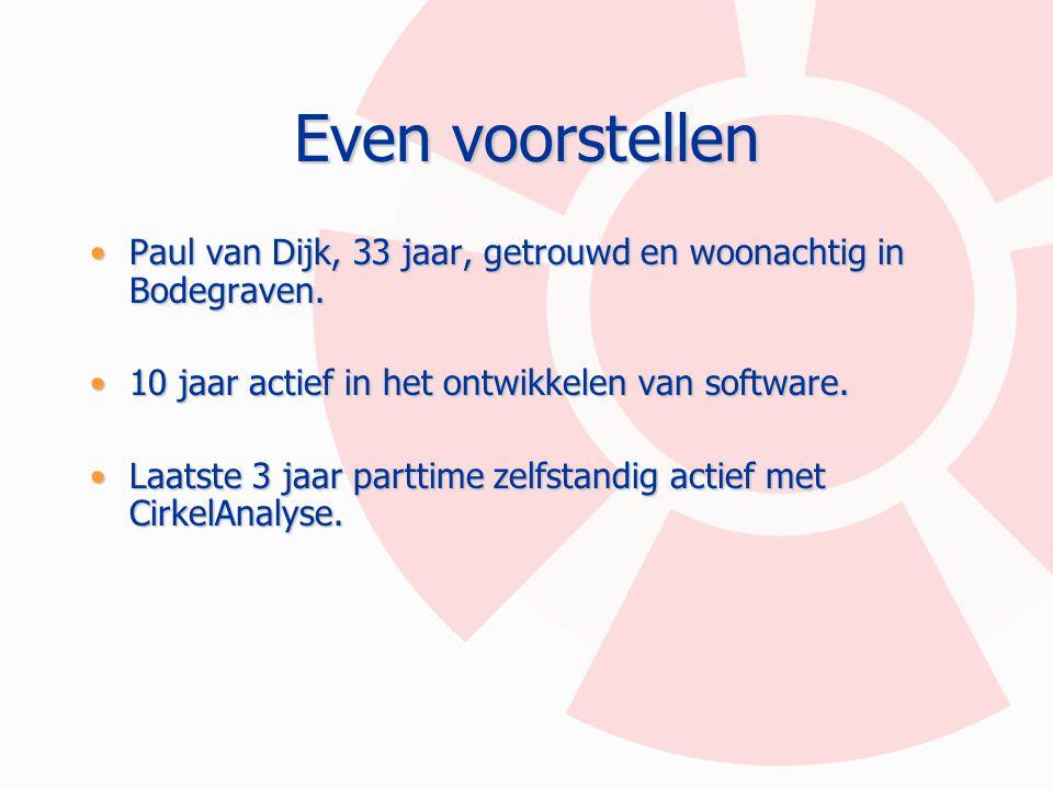 Even voorstellen Paul van Dijk, 33 jaar, getrouwd en woonachtig in Bodegraven. 10 jaar actief in het ontwikkelen van software.