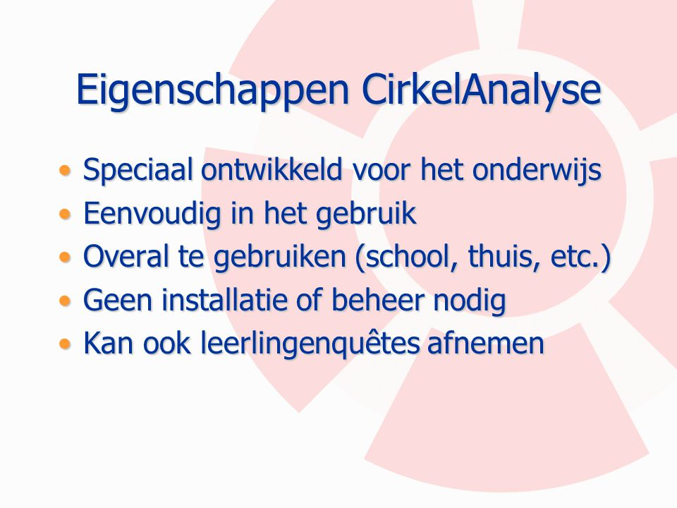 Eigenschappen CirkelAnalyse