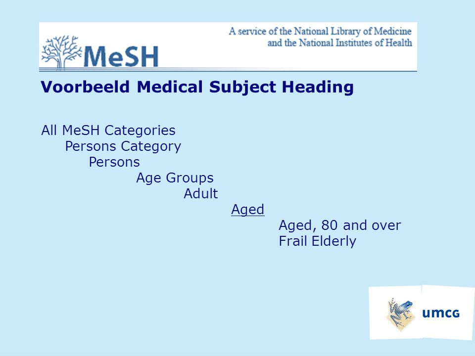 Voorbeeld Medical Subject Heading