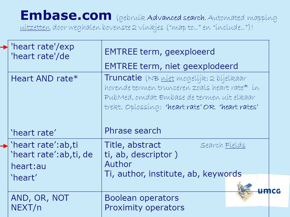 Embase. com (gebruik Advanced search
