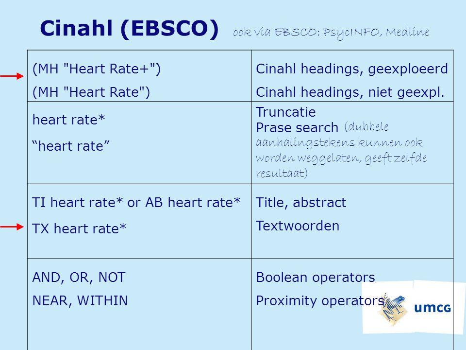 Cinahl (EBSCO) ook via EBSCO: PsycINFO, Medline