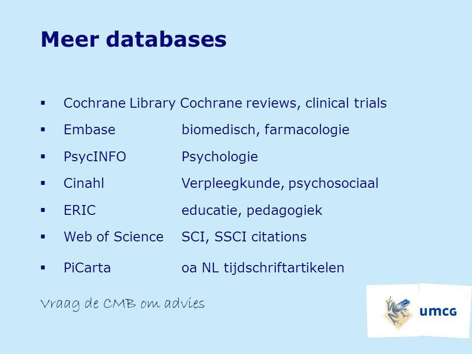 Meer databases Vraag de CMB om advies