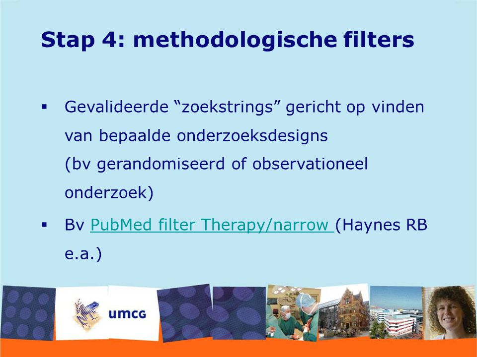 Stap 4: methodologische filters