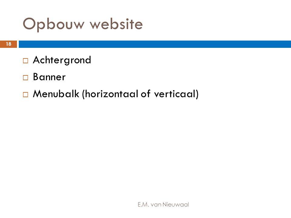 Opbouw website Achtergrond Banner Menubalk (horizontaal of verticaal)