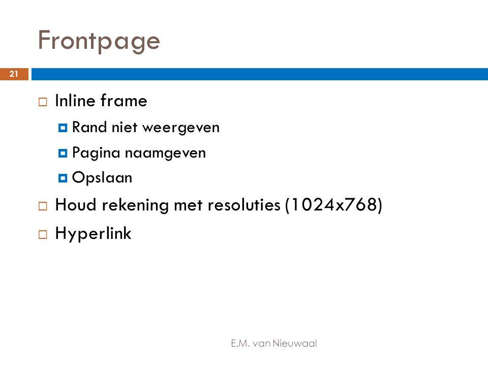 Frontpage Inline frame Houd rekening met resoluties (1024x768)