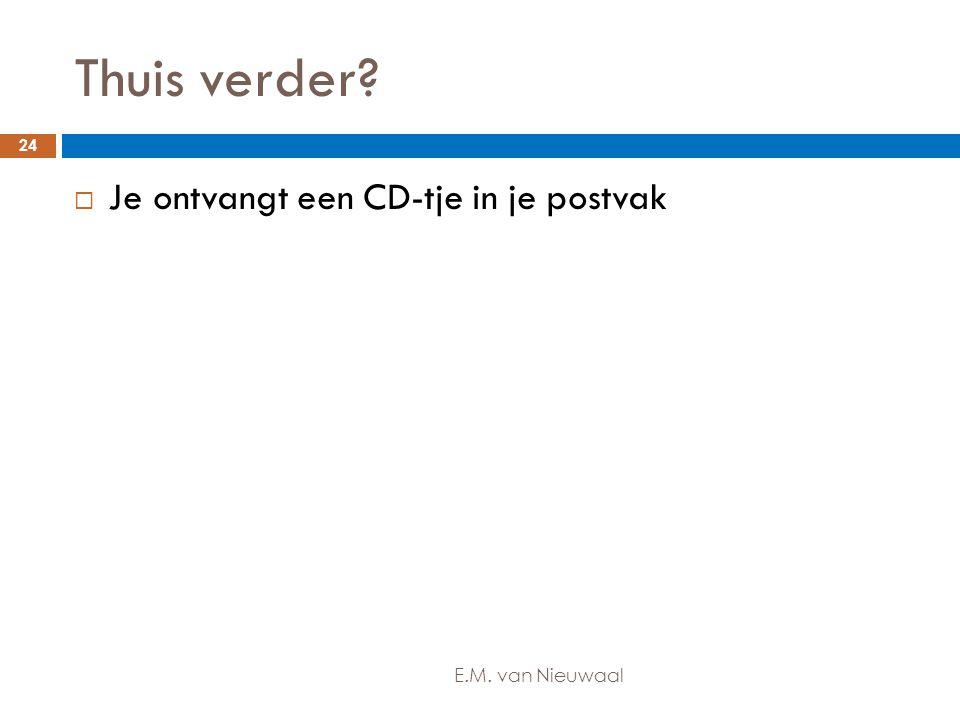 Thuis verder Je ontvangt een CD-tje in je postvak E.M. van Nieuwaal