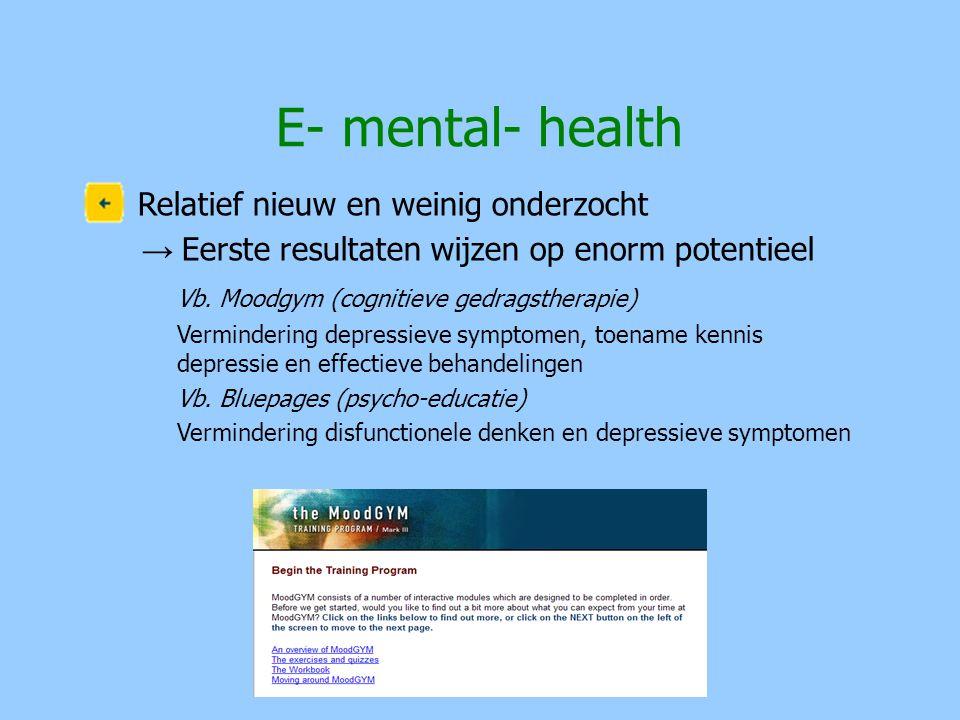 E- mental- health Relatief nieuw en weinig onderzocht
