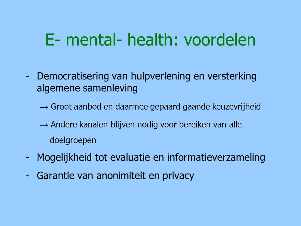 E- mental- health: voordelen