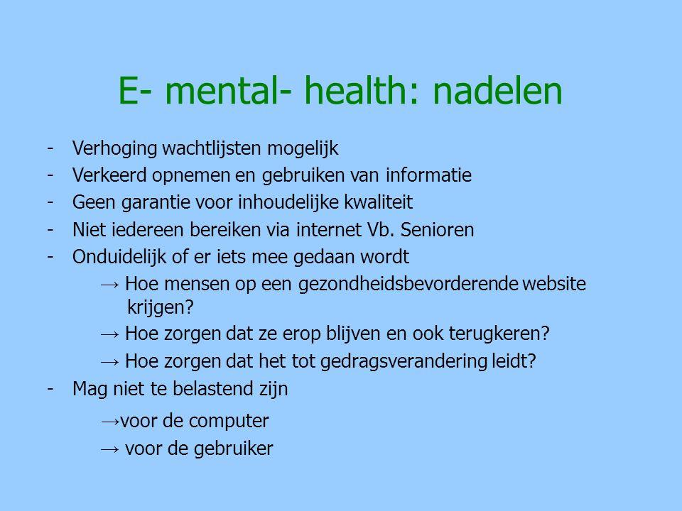 E- mental- health: nadelen