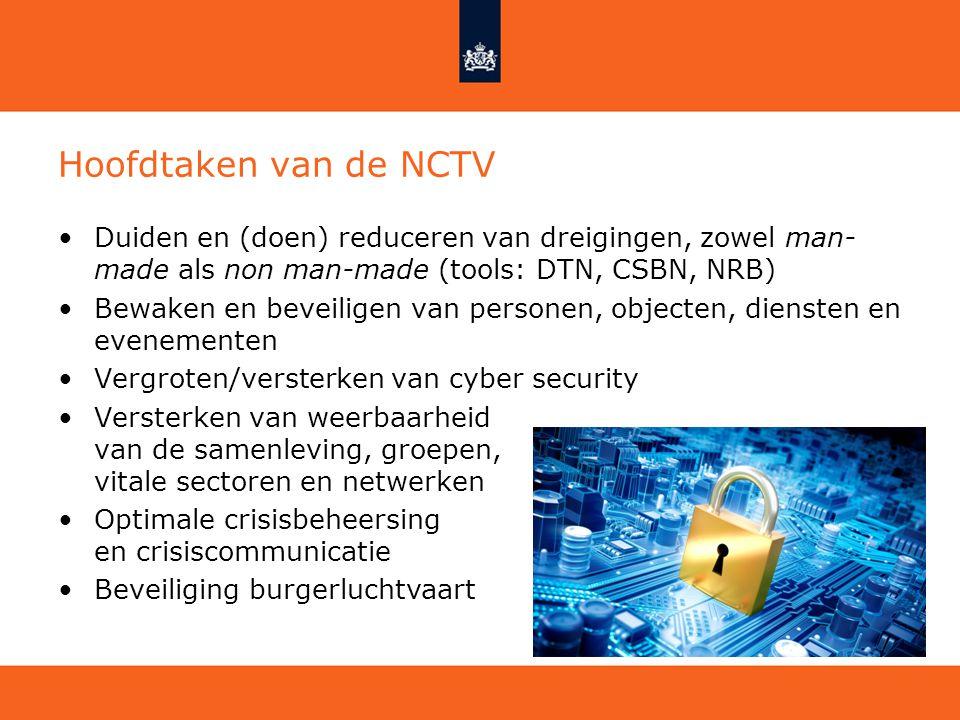 Hoofdtaken van de NCTV Duiden en (doen) reduceren van dreigingen, zowel man-made als non man-made (tools: DTN, CSBN, NRB)