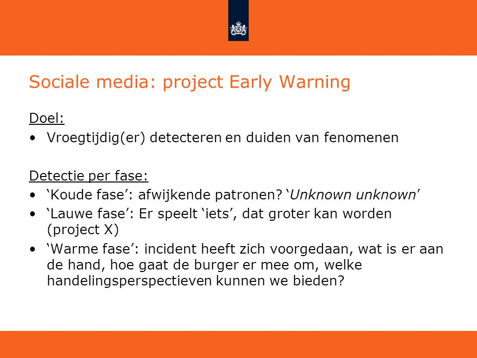 Sociale media: project Early Warning