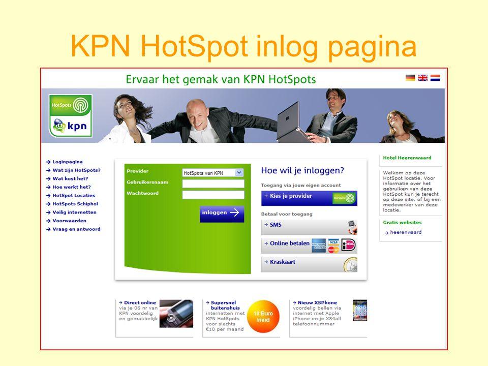 KPN HotSpot inlog pagina