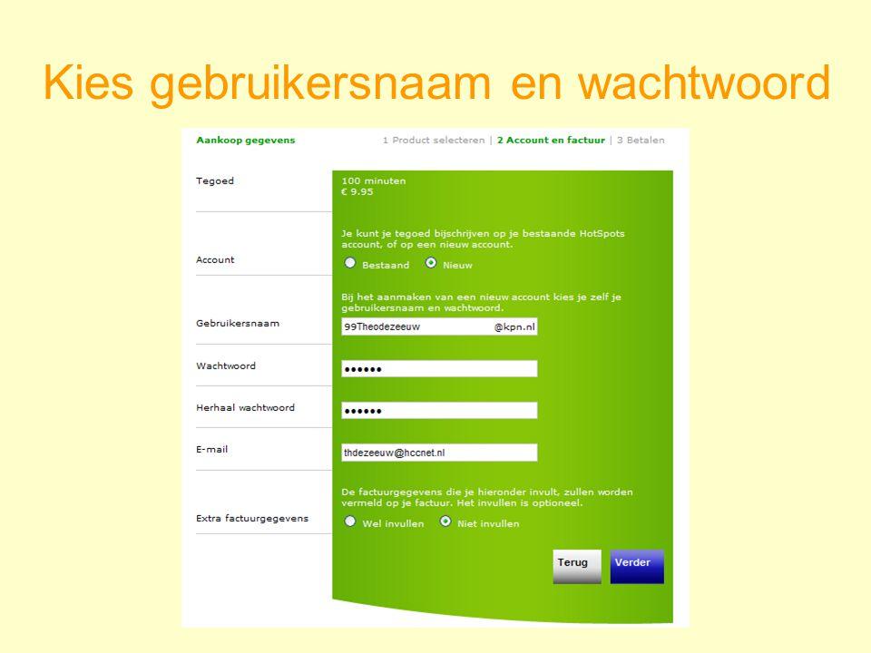 Kies gebruikersnaam en wachtwoord