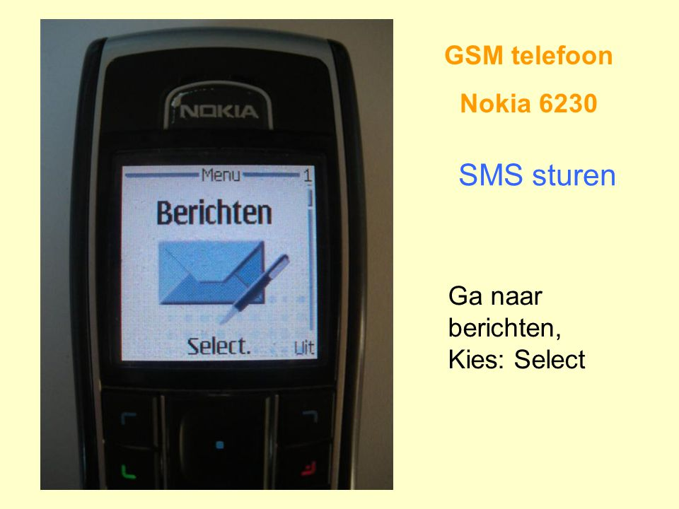 GSM telefoon Nokia 6230 SMS sturen Ga naar berichten, Kies: Select
