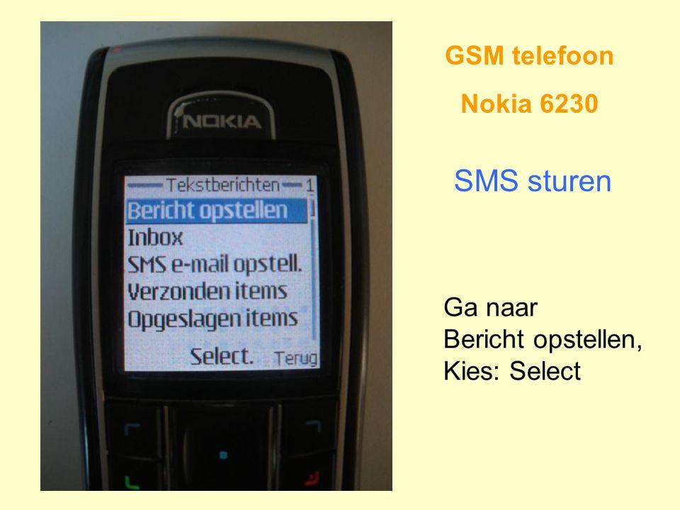 SMS sturen GSM telefoon Nokia 6230 Ga naar Bericht opstellen,