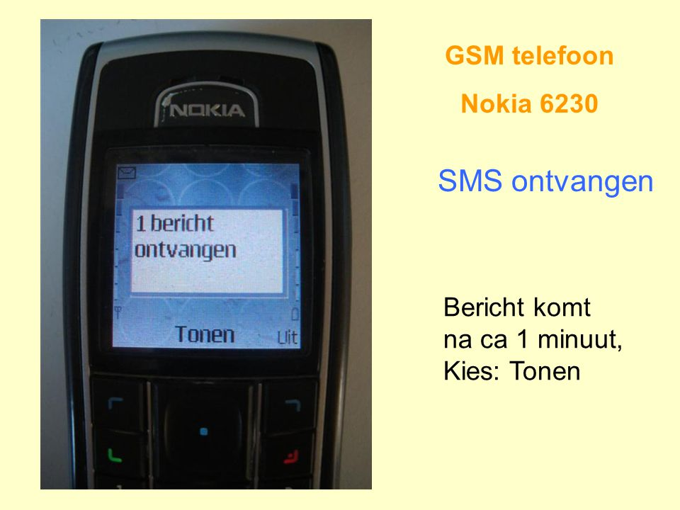 SMS ontvangen GSM telefoon Nokia 6230 Bericht komt na ca 1 minuut,