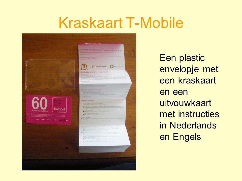 Kraskaart T-Mobile Een plastic envelopje met een kraskaart en een uitvouwkaart met instructies in Nederlands en Engels.