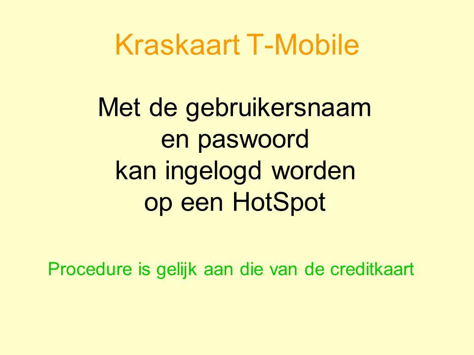 Kraskaart T-Mobile Met de gebruikersnaam en paswoord