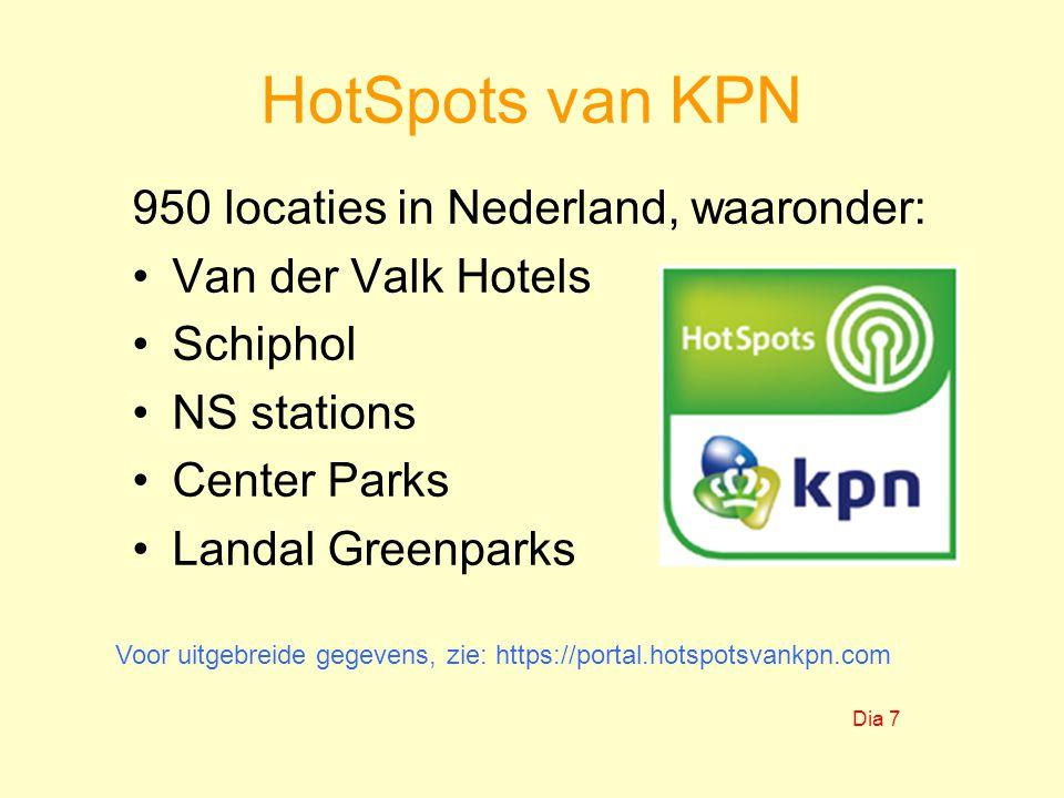 HotSpots van KPN 950 locaties in Nederland, waaronder:
