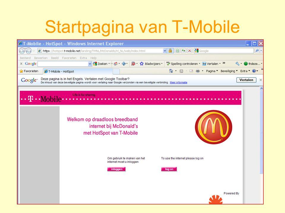 Startpagina van T-Mobile