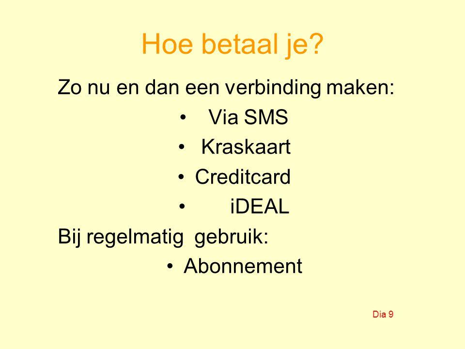 Hoe betaal je Zo nu en dan een verbinding maken: Via SMS Kraskaart