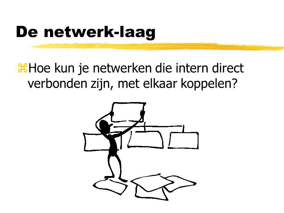 De netwerk-laag Hoe kun je netwerken die intern direct verbonden zijn, met elkaar koppelen