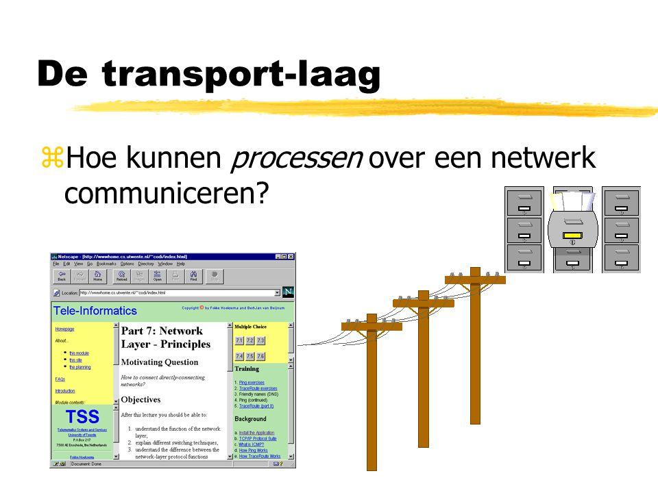 De transport-laag Hoe kunnen processen over een netwerk communiceren