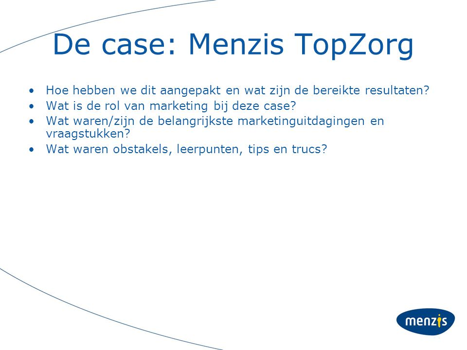 De case: Menzis TopZorg
