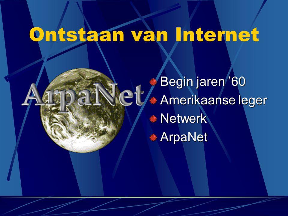 Ontstaan van Internet Begin jaren '60 Amerikaanse leger Netwerk