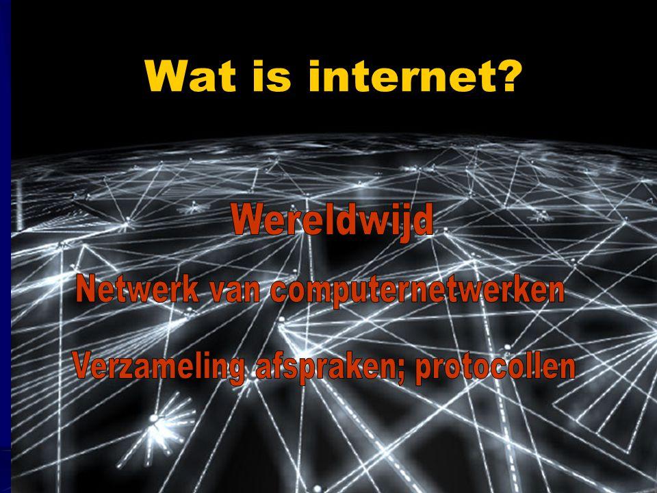 Netwerk van computernetwerken Verzameling afspraken; protocollen
