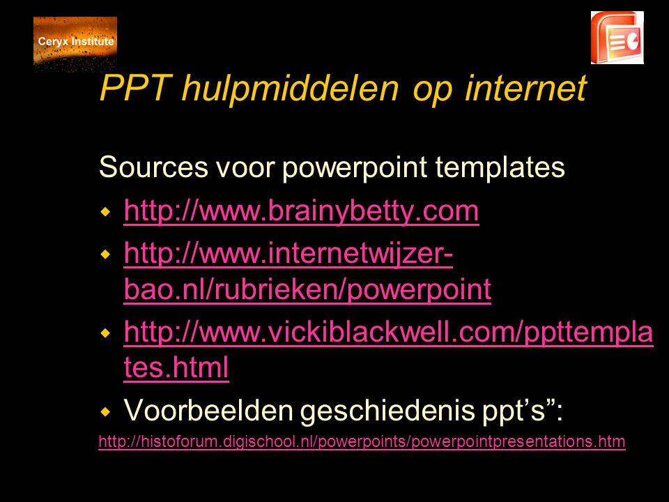 PPT hulpmiddelen op internet