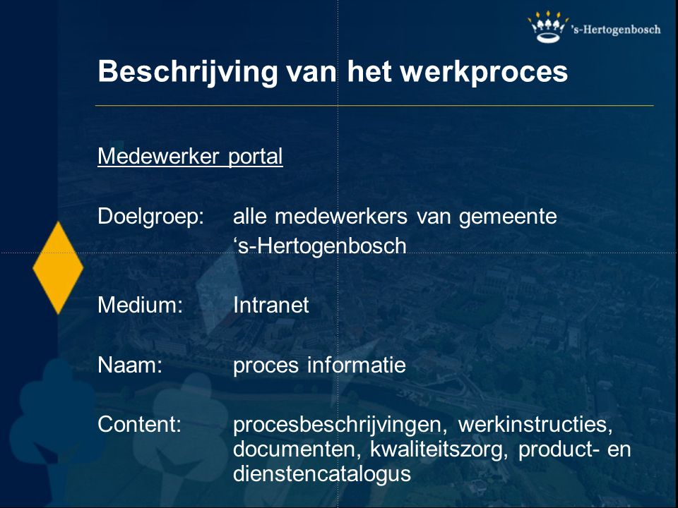 Beschrijving van het werkproces