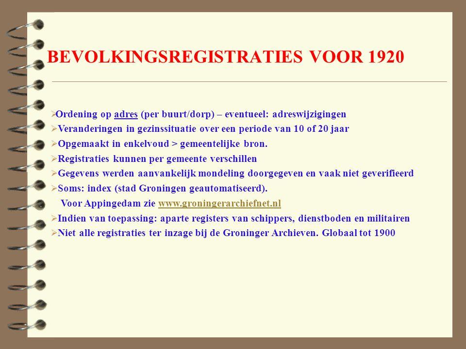 BEVOLKINGSREGISTRATIES VOOR 1920