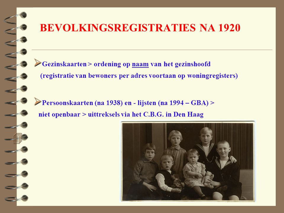 BEVOLKINGSREGISTRATIES NA 1920
