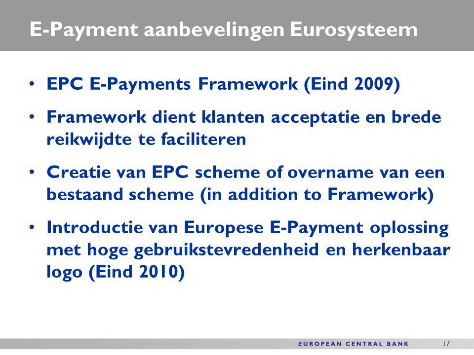 E-Payment aanbevelingen Eurosysteem