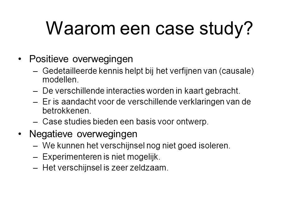 Waarom een case study Positieve overwegingen Negatieve overwegingen