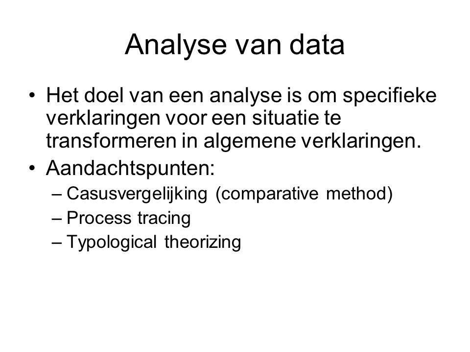 Analyse van data Het doel van een analyse is om specifieke verklaringen voor een situatie te transformeren in algemene verklaringen.