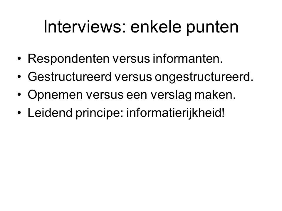 Interviews: enkele punten