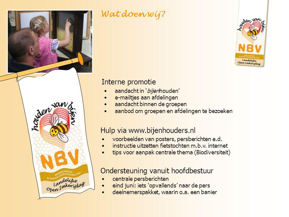 Wat doen wij Interne promotie Hulp via www.bijenhouders.nl