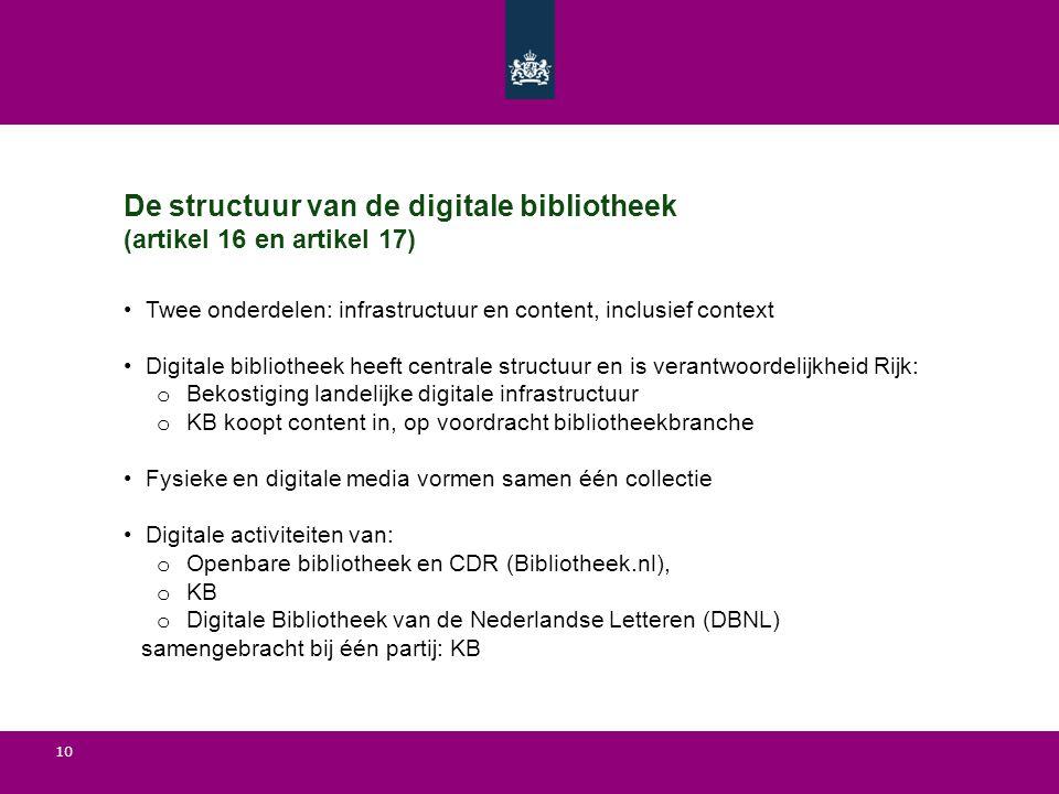 De structuur van de digitale bibliotheek (artikel 16 en artikel 17)