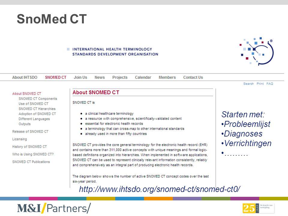 SnoMed CT Starten met: Probleemlijst Diagnoses Verrichtingen ………