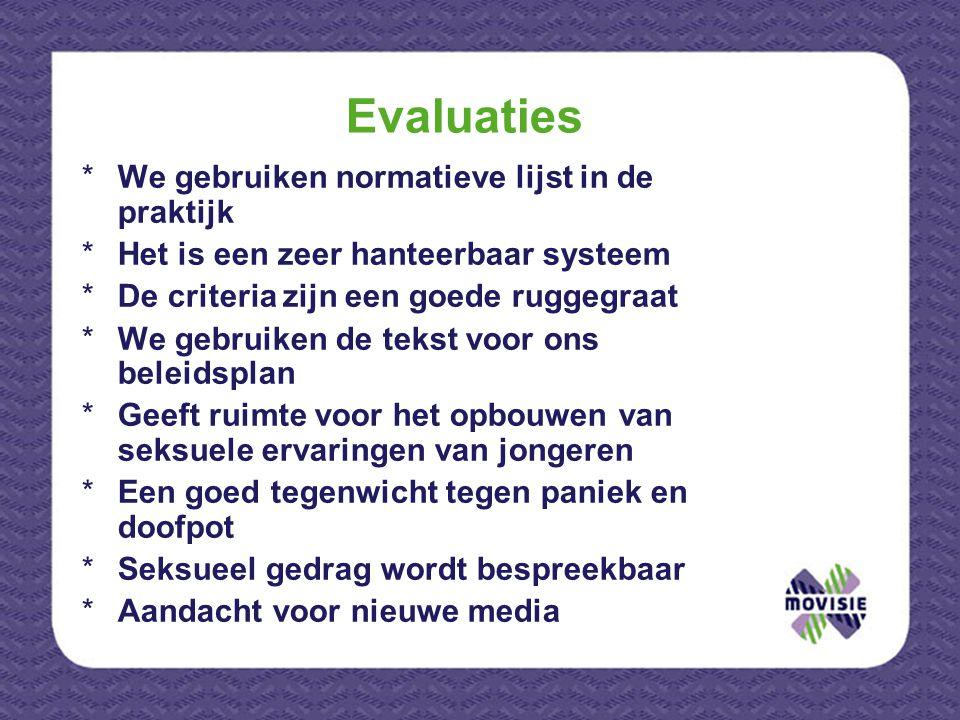 Evaluaties We gebruiken normatieve lijst in de praktijk