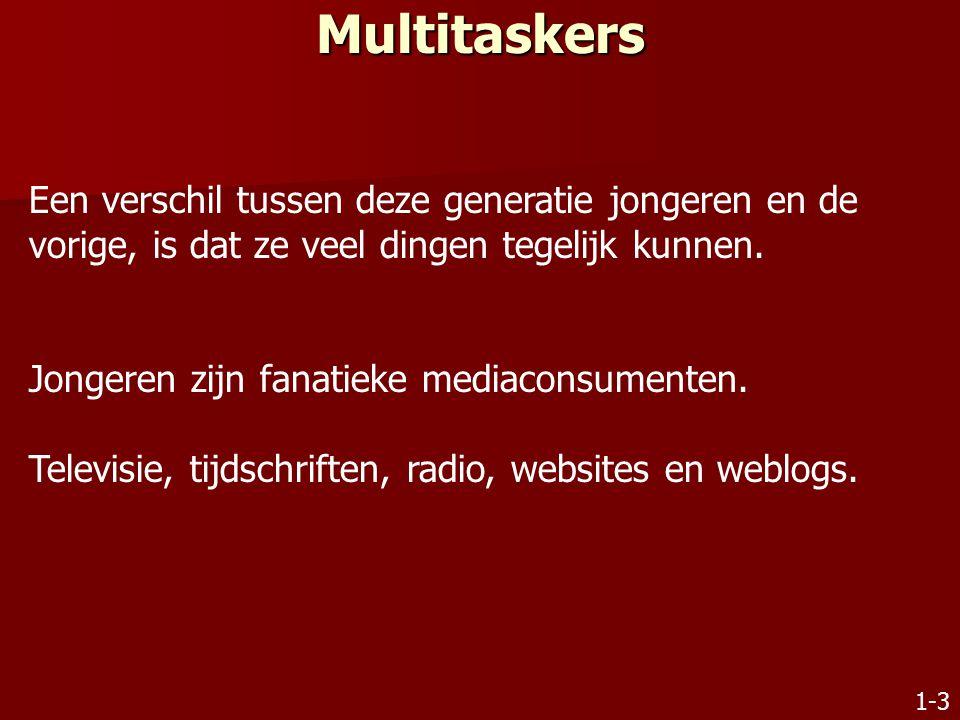 Multitaskers Een verschil tussen deze generatie jongeren en de vorige, is dat ze veel dingen tegelijk kunnen.