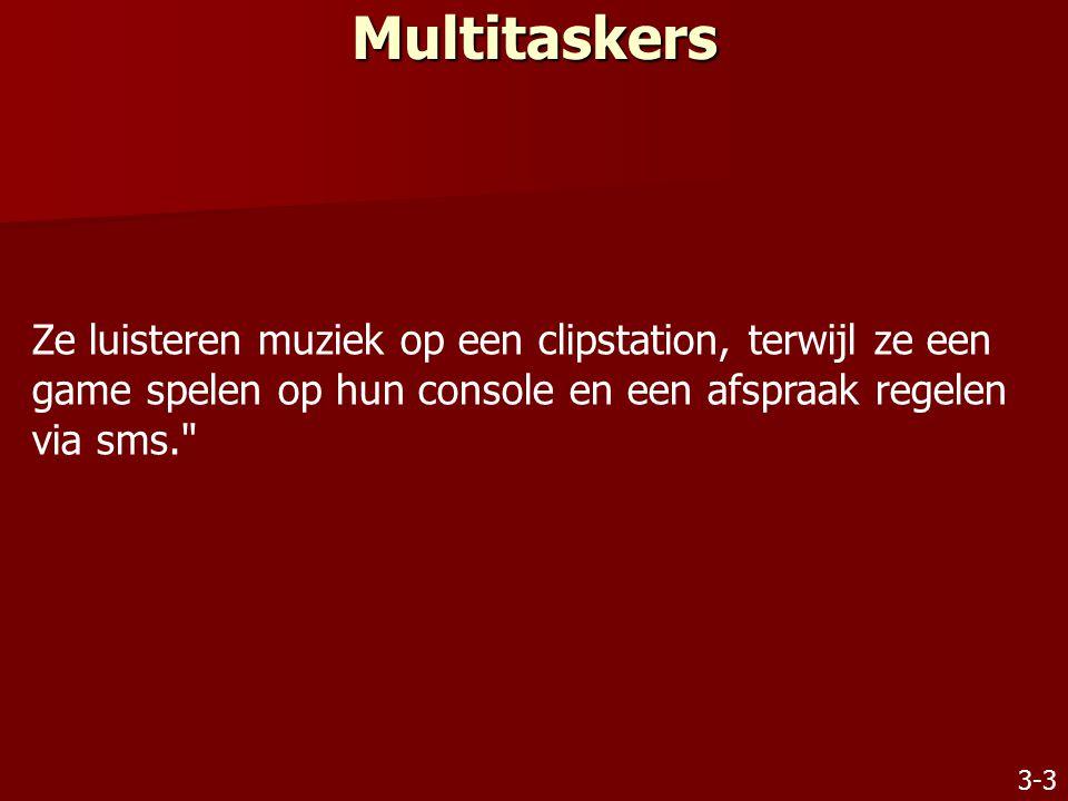 Multitaskers Ze luisteren muziek op een clipstation, terwijl ze een game spelen op hun console en een afspraak regelen via sms.