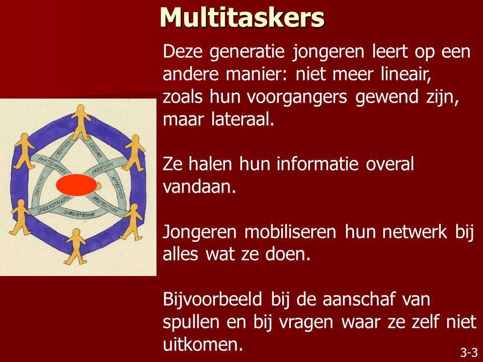 Multitaskers Deze generatie jongeren leert op een andere manier: niet meer lineair, zoals hun voorgangers gewend zijn, maar lateraal.