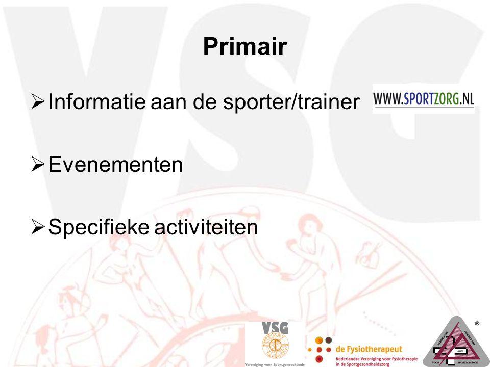 Primair Informatie aan de sporter/trainer Evenementen